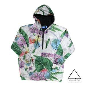 Adidas AJ8875 Floral Half Zip Windbreaker Pullover